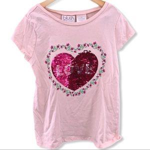 Pink heart flip sequin tee 10/12